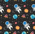 Astronaut in space seamless background in kawaii style vector