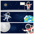 Astronaut spaceman horizontal banners a collection of three with the earth the moon and astronauts or spacemen floating on a dark Stock Photo