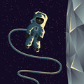 Astronaut spacewalk near the moon. Flat geometric illustration. Royalty Free Stock Photo