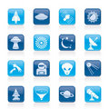 Astronautics, space and universe icons Stock Photos