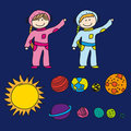 Astronauts with planets Royalty Free Stock Image