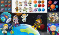 Astronauts and planets in solar system