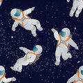 Astronauts with space suits in various poses. Seamless vector pattern