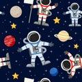 Astronauts Spacemen Seamless Pattern Royalty Free Stock Photo