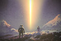 Astronauts walking to mystery light beam from the sky