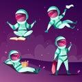 Astronauts in weightlessness zero gravity planet vector cartoon illustration