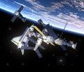 Astronautyczny wahadłowiec i stacja kosmiczna orbituje earth Fotografia Royalty Free