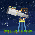 Astronomer cartoon are researching about astronomy Royalty Free Stock Image