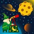 Astronomer looks at moon vector illustration Stock Photo