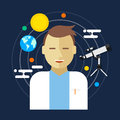 Astronomer space science man vector illustration telescope Stock Image