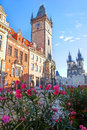 Astronomical clock at morning in old town prague czech republic Stock Photography