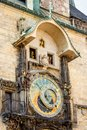 Astronomical clock on old town hall in Prague Royalty Free Stock Photo