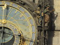 Astronomical clock prague sun and shadows the skeleton representing death and the turk pleasure Royalty Free Stock Image