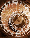 Astronomical clock in sepia toned Royalty Free Stock Photo