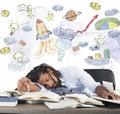Astronomy class teacher sleeping on desk during Stock Photos