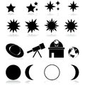 Astronomy icons set showing different related items and Stock Photo
