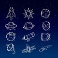 Astronomy icons a vector illustration of icon sets Stock Photos