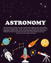 Astronomy study. Education and science layout concepts. Flat modern style.