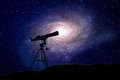 Astronomy a telescope with a large spiral galaxy in the background Royalty Free Stock Photography