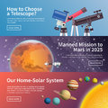 Astronomy vector banner set Royalty Free Stock Photo