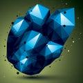 Asymmetric 3D Blue Abstract Ob...
