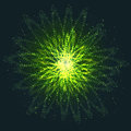 Asymmetric Intersecting Glowing Green Ovals. Royalty Free Stock Photo