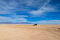 Atacama desert arid landscape and jeep tour Royalty Free Stock Photo