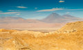 Atacama desert view at with volcano Royalty Free Stock Image