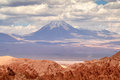 Atacama desert volcano in with clouds Royalty Free Stock Photos