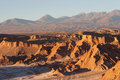 Atacama Desert and volcano range in evening, Chile Stock Photography
