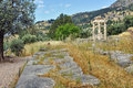 Athena Pronaia Sanctuary in Ancient Greek archaeological site of Delphi, Greece Royalty Free Stock Photo