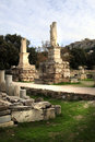 Athene, Griekenland - Agora en de Akropolis Stock Afbeeldingen