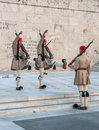 Athenes greece march evzones changing the guard at the t tomb of unknown soldier in Royalty Free Stock Photography