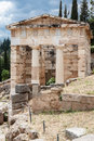 Athenian treasure delphi greece the ruins of the marble building with doric columns in Royalty Free Stock Image