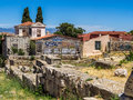 Athens graffiti photograph of houses stone ruins and in greece Royalty Free Stock Photo