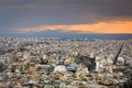 Athens greece evening view of from filopappou hill Royalty Free Stock Photography
