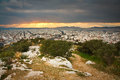 Athens greece evening view of from filopappou hill Royalty Free Stock Images