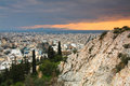 Athens greece evening view of from filopappou hill Royalty Free Stock Image