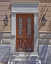 Athens greece house entrance with solid wood door Stock Photography