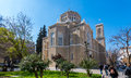 Athens, Greece - March 4, 2017: East facade of the metropolitan cathedral in Athens