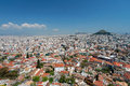 Athens and Lykavitos Hill from Acropolis, Athens, Greece Royalty Free Stock Photo
