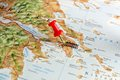 Athens on map close up of a with red pin Royalty Free Stock Photography