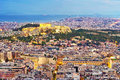 Athens Night Panorama Royalty Free Stock Photo