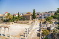 Athens roman agora in the st century bc when had already become part of the empire the the old marketplace of had become Stock Photo