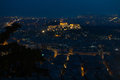 Athens skyline aerial view from the lycabettus hill at night greek parliament and parthenon are visible Royalty Free Stock Image