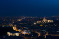 Athens skyline aerial view from the lycabettus hill at night greek parliament and parthenon are visible Stock Image