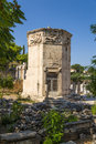 Athens the tower of the winds also called horologion timepiece is an octagonal pentelic marble clocktower on roman agora in Royalty Free Stock Photos