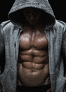 Athlete close up of muscular sports man after weights training Royalty Free Stock Photo