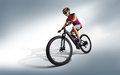 Athlete cyclists in silhouettes on white background. Royalty Free Stock Photo