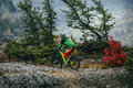 Athlete in the discipline of downhill magnitogorsk russia september during urals cup bike magnitogorsk russia Royalty Free Stock Images
